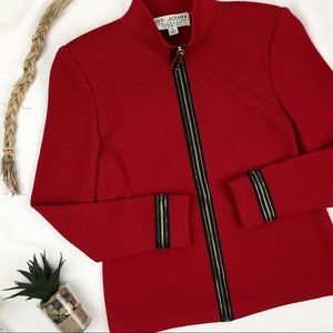 St. John Collection Holiday Red Embellished Jacket